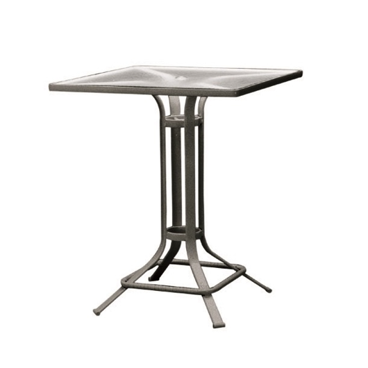 "Picture of 32"" SQUARE PEDESTAL BAR TABLE, GLASS TOP"
