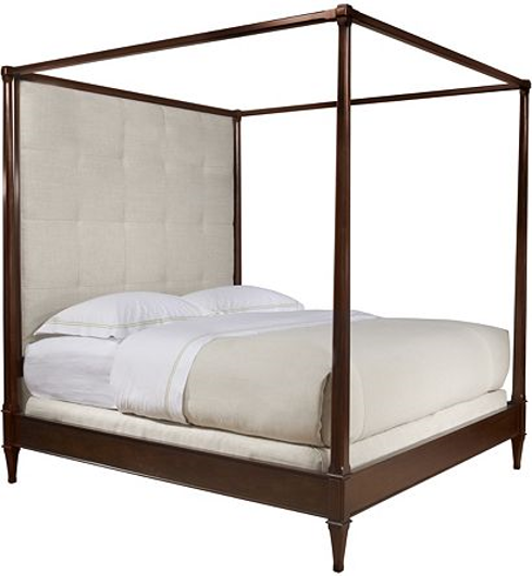 Picture of ARTISAN POSTER BED - MAHOGANY - CALIFORNIA KING WITH TALL BISCUIT-STITCHED UPH. HEADBOARD